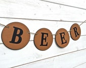 BEER banner, picnic banner, man cave,  party banner, beer decoration, beer garland, alcohol sign, beer sign, gift for him, black and brown