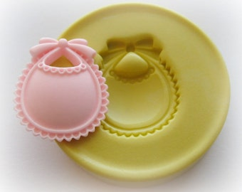 Silicone Molds Baby Bib Fondant Mold Clay Resin Foot Mould