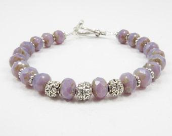 Czech Glass Bracelet, Beaded Bracelet, Mixed Media Jewelry, Chic Jewelry, Women's Jewelry, Lavender, 8 1/4 inches