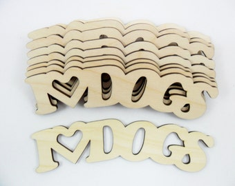 "I Love Dogs Wood Sign 5 5/8"" x 1 3/4"" x 1/8"" Laser Cut Wood - 5 Pieces"