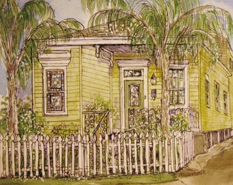 Your Home Custom HOUSE PORTRAIT in Pen&Ink and Watercolor,Choice of sizes,Original hand-painted watercolor home painting