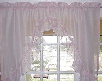 Free Shipping..Beautiful Vintage Victorian Pink Ruffled Swag Curtain
