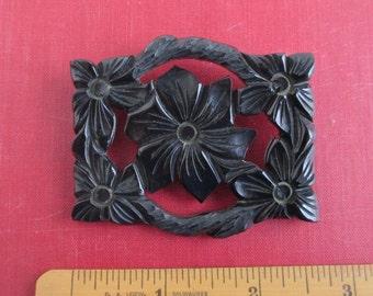 Carved Black Bakelite Brooch / Pin - Vintage, Flowers