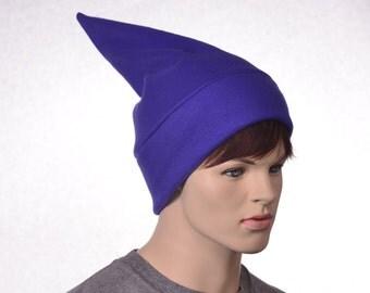 Purple Short Elf Hat Stocking Cap Adult Women Mens Beanie Purple Gnome Hat Dwarf Costume Hat Unisex Pointed Beanie
