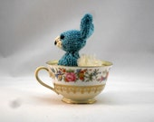 Hand Knit Bunny Plush Light Blue Ready To Ship