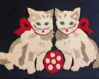 vintage framed 2 kittens with polka dot ball punch work embroidery