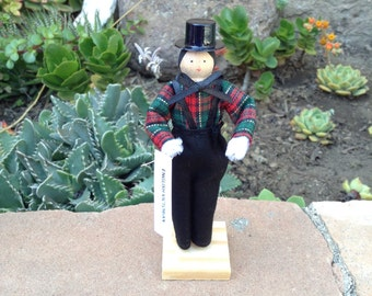 English Victorian boy clothespin doll, black, red, green outfit
