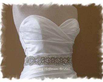 Vintage Style Bridal Sash, 17 inch Pearl Rhinestone Wedding Sash, Crystal Pearl Bridal Belt, Wide Jeweled Wedding Dress Belt, No. 4069-17