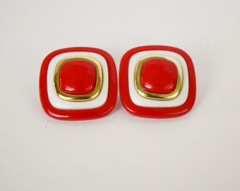 Big Box Red and Gold Retro Earrings