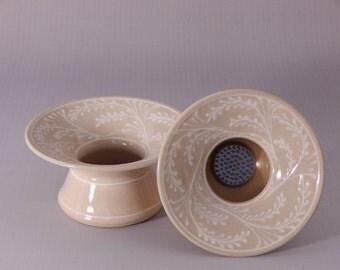 Stoneware Ikebana Vase White Wheat Pin Vase