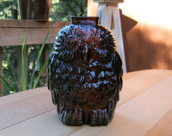 Wise Old Owl Bank - Brown Glass Owl - Paperweight - Oak Hill Vintage