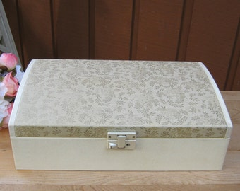 SALE - Large Farrington Jewelry Box With Brocade Lid - Key - Cream and Burgundy - Oak Hill Vintage