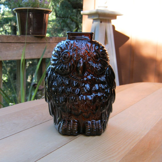 Wise old owl bank brown glass owl paperweight oak hill - Wise old owl glass bank ...