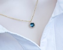 Blue Sapphire Necklace, Gold Plated Blue Sapphire Round Drop Glass Necklace, Bridesmaids Gift, Minimal Modern Petite Everyday Necklace