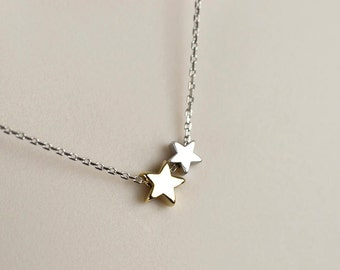 Star Necklace, Tiny Silver Star Charms, Two Stars Necklace, Gold and Silver Stars Necklace, Minimalist, Dainty Small Everyday Jewelry