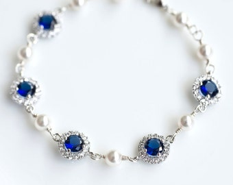 Bridal Bracelet, Blue Sapphire Bridal Bracelet, Something Blue Bracelet, Cubic Zirconia and Swarovski Pearl Bridal Bracelet, Wedding Jewelry