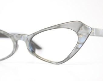 Small Unused Gray Cat Eye Glasses Cateye Frames Vintage Eyewear 1960s Eyeglasses New Old Stock