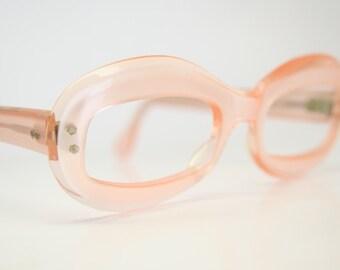 Unused Small Pink Mask Eye Glasses Cateye Frames Vintage Eyewear 1960s Eyeglasses New Old Stock