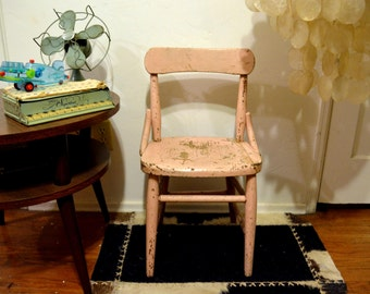 Rustic Vintage Wooden Pink Childrens School Chair: Pale Salmon Toddler or Doll 'Farmhouse Shabby Chic' Distressed Chippy Paint Wood Patina