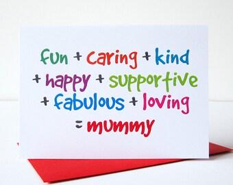 Mummy Card - Mothers Day Card - Mum Birthday Card - Mom Birthday Card - Birthday Cards for Her