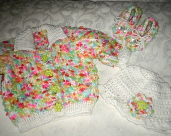 Rainbow Sprinkles 3 Piece Sweater Set in 6 to 12 Months
