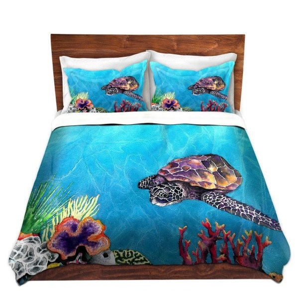 sea turtle bedding duvet set sea turtle painting nature modern bedding 2136