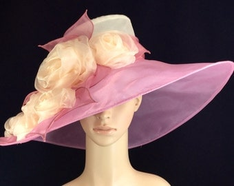 Peach and Pink Kentucky Derby Hat with Rose,Fascinator,Derby Hat,Dress Hat ,Bridal Wedding Hat,Tea Party Hat Ascot
