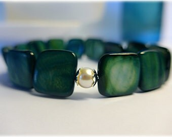 Shimmering Pearl and Teal Mother of Pearl Stretch Bracelet - Freshwater Pearl, Sterling Silver and Mother of Pearl