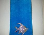 Tropical fish bath hand fingertip towel aqua purple angelfish vintage applique