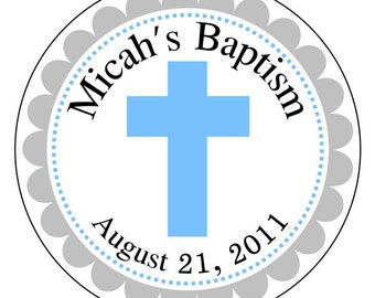 baby boy baptism labels, baby baptism stickers, blue cross stickers, blue and gray dedication labels, 3 sizes available