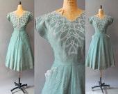 1950s Cotton Dress / Fresh Meadows Dress / 50s