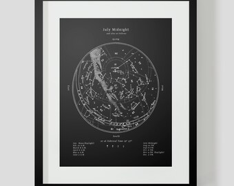 Star Chart Constellations of the July Night Sky