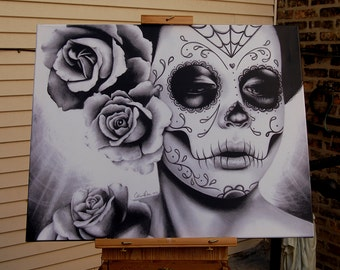 16x20 in Stretched Canvas Print - Felicity - Dia De Los Muertos Tattoo Flash Day of the Dead Sugar Skull Girl - Black and White Decor