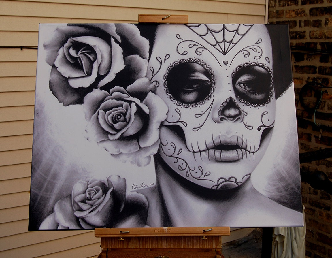 Day Of The Dead Wall Art 16x20 in stretched canvas print felicity dia de los