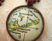 Custom Map Jewelry, The Hamptons Montauk Long Island Vintage Map Pendant Necklace, Personalize Map Jewelry, Map Cuff Links, Groomsmen Gifts