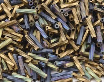 Seed Beads-2.7x12mm Twisted Bugle-04 Flat Iron-Miyuki-10 Grams