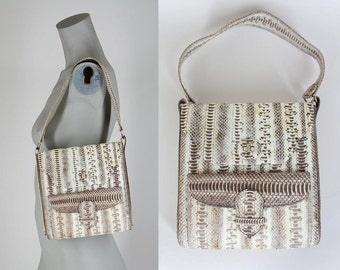 SALE Vintage 60s Purse / 1960s Genuine Snake Skin Shoulder Bag