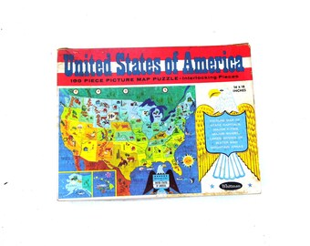 1960s United States of America Puzzle, Mid Century Era Game, Learning Toy Puzzle