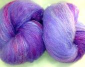 Art batt, Wool SPINNING batt Tussah Silk & BFL 1 oz Grapes