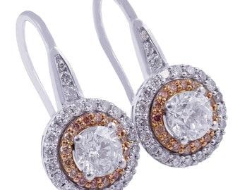 14k white rose gold round cut diamonds & pink diamonds earrings 2.10ctw