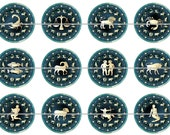 "1"" Inch Deep Blue Zodiac Pins, Magnets, Flat Back Buttons 12 Ct"