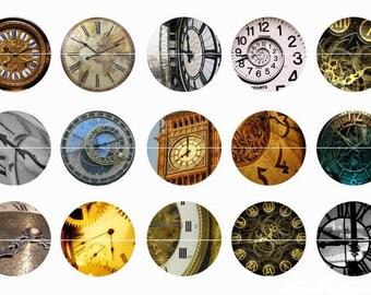 "Clock Pins, Clock Magnets, Steam Punk Clocks, Clock Towers, 1"" Flat Backs, Hollow Backs, Cabochons, 12 ct"