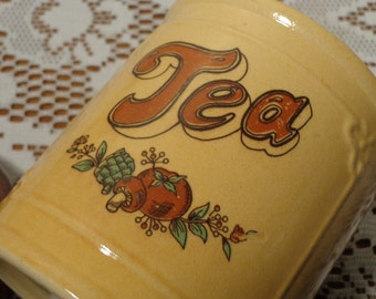 Vintage Tea Canister - Yellow and Brown Ceramic Tea Holder  -  14-1384