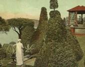 Hunnewell Gardens Glimpse of the Summer House Wellesley Massachusetts Unused Vintage Postcard