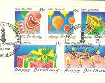 Happy Birthday July 1st 1991 New Zealand Post Office First Day Cover with Festive and Bright Stamps Vintage Paper Ephemera