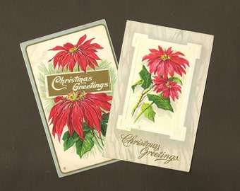 Embossed Vintage Christmas Postcard Pair Festive Bright Red Poinsettias 1 Stecher Litho circa 1910