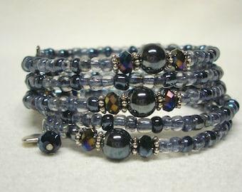 Beaded Grey Memory Wire Wrap Around Bracelet with Heart