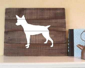 Rat Terrier Silhouette -  Reclaimed Wood Sign