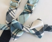 SALE bow tie and suspenders for toddler boy - teal navy and white plaid