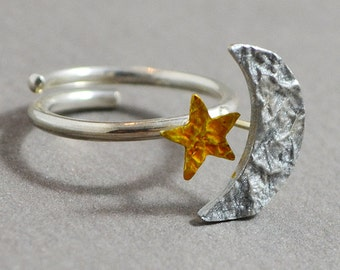 silver ring, Adjustable Ring, hand painted ring, enamel ring, moon and star ring, yellow enamel ring, silver enamel ring, Handmade ring